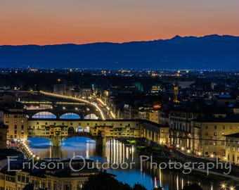 Florence Italy / Wall Art / Ponte Vecchio / Piazzale Michelangelo / Photography / Home and Office Decor