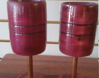 wine glasses with copper stems, wooden 4 oz.