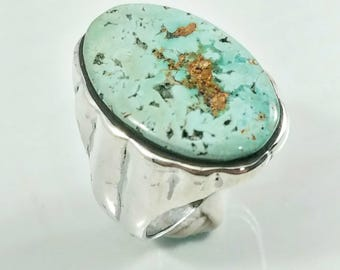 Turquoise in Sterling Silver, Sterling Silver Ring, Handmade Ring, Variscite Ring, Jewelry, Handmade Jewelry, Inlaid Jewelry