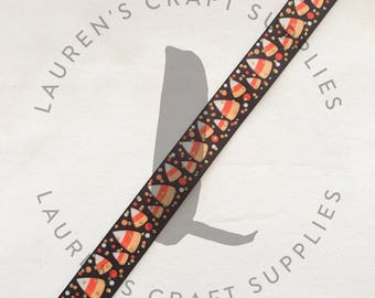 "Candy Corn Ribbon | Sweet as Candy Corn | Halloween Ribbon | Hairbow Ribbon | US Designer Ribbon | 7/8"" Ribbon | Grosgrain Ribbon"