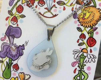 Alice in wonderland - White Rabbit - acrylic necklace