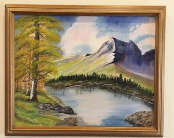 Framed Mountainside Landscape Painting