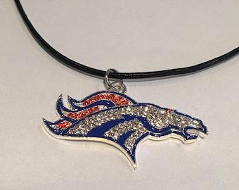 "Denver Broncos charm necklace. 1.8""x1"" approx . 17"" ."