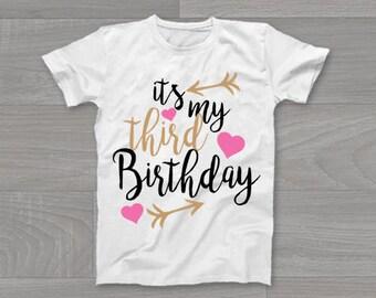 It's My Third Birthday Girls Kids T-Shirt, Childrens Toddlers T Shirt Top.
