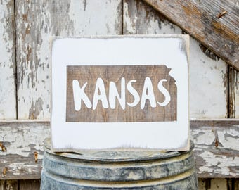 Kansas Wood State Sign   Rustic Decor   Wood Sign   Country Home   Wall Hanging   Farmhouse Decor   Whitewash   Home State Sign