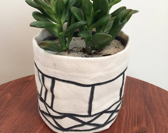 Hand painted fabric flower pot cover