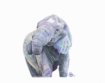Good Luck Purple  Elephant- Fine Art Print