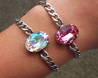CRYSTAL OVAL Swarovski crystal 18x13mm oval single stone bracelet in antique silver available in a variety of colors