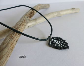 Jewel man, black, white African mask necklace, beaded jewelry