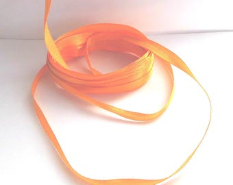 Ribbon of satin orange (Amber) - 6mm wide - sold by 50cm