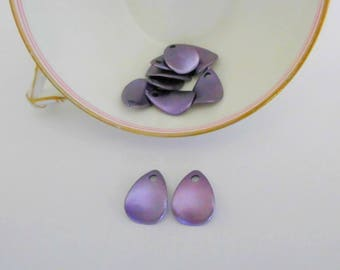 Charm jewelry drop/petal effect purple Pearlescent - synthetic - 19 * 14mm - 2 x