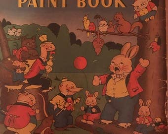 Vintage 1937 Peter Rabbit story and paint book Harrison Cady oversized coloring book Whitman Publishing