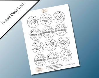 Line Art Circle Graduation Printable Gift Tags, Hats off to the Graduate, School Graduation, Graduation Party Favors, Class of 2018 Tags
