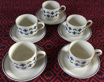 5 Midwinter Roselle Tea cups and saucers