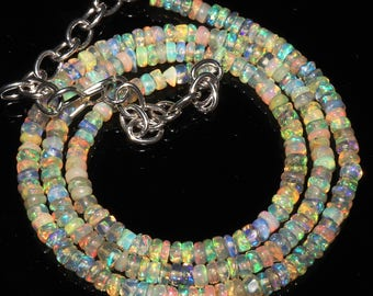 """35 Ctw 1Necklace 3to5 mm 16"""" Beads Natural Genuine Ethiopian Welo Fire Opal S1797"""