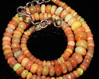 """64 Ctw 1Necklace 3to8 mm 15"""" Beads Natural Genuine Ethiopian Welo Fire Opal 43749"""