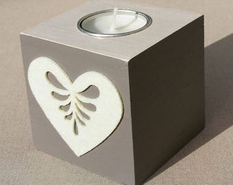 Taupe, off-white heart decor wooden Square candle holder