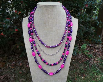Multi-Strand Necklace, Purple and Pink Necklace, Tiered Necklace, Layered Necklace, Boho Necklace, Statement Necklace, Bohemian Necklace