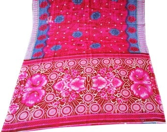 Printed Fabric Sari Indian Vintage Floral Printed Home Decor Georgette Curtain Drape 5YD Fabric Saree Scrap Pink Decorative Fabric Dress