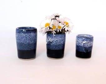 Set of three mini-vases stoneware, speckled blue