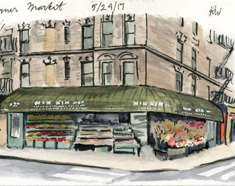 4x6 Original Watercolor Painting - Corner Store
