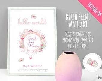 Birth Print Wall Art Announcement | EDITABLE PDF | Instant Digital Download | Pastel Colours Original Doodle Design