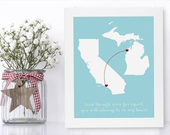 Grandma Decor Wall Grandma Wall Decor Unique Long Distance Gift 2 Map Art Two Map Print Personalized State Country Distance Present Birthday