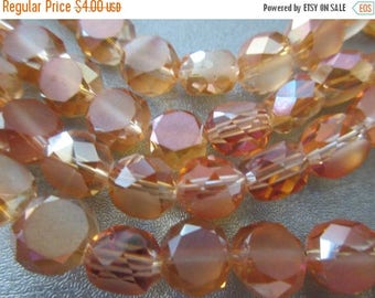 ON SALE 15% OFF Chinese Crystal Faceted Coin Beads 30pcs Orange Ab