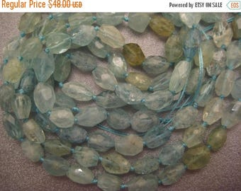 ON SALE 15% OFF Chinese Aquamarine Faceted Freeform Nuggets Beads 37pcs