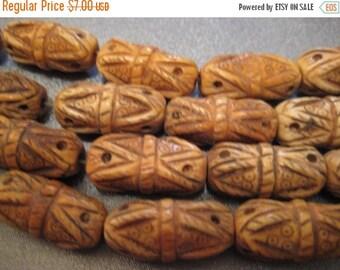 ON SALE 15% OFF Camel Bone Carved Beads 8pcs