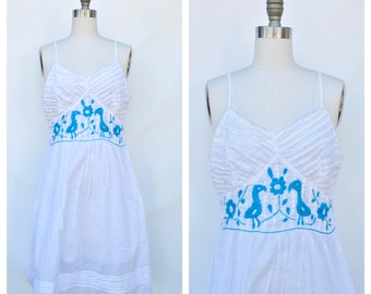 embroidered birds white cotton sun dress / large