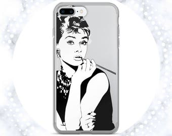 Audrey Hepburn iPhone 6s Clear Case | iPhone Cases | Celebrity | Clear Phone Cases | Famous People | Breakfast at Tiffany's | Black & White