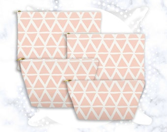 Buff Pink Lattice Accessory Pouch | Geometric | Pink Cosmetic Bag | Pencil Case | Toiletry Bag | Zipper Clutch | Makeup Storage | Triangles