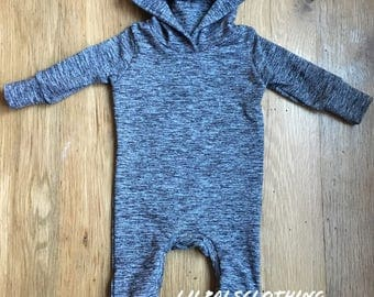 Gray baby boys hooded one-piece outfit, hoodie outfit, one-piece outfit, baby boys clothes, gray one-piece, baby boy sweatshirt.