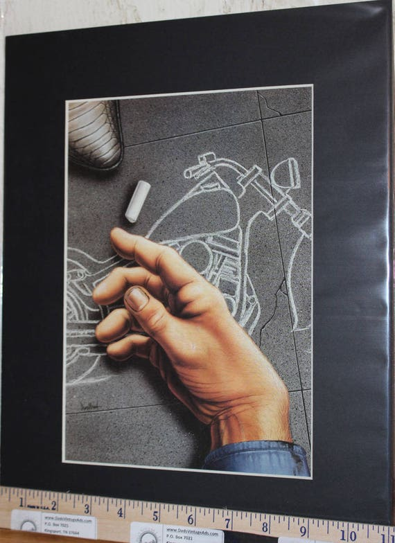 "David Mann ""The Bike on the Barroom Floor'' 11'' x 14'' Matted Motorcycle Biker Art #9704ezrdm"