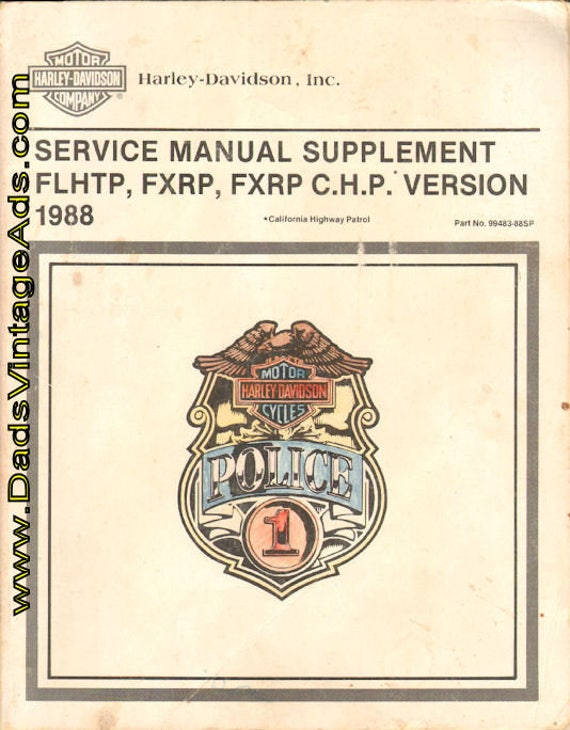 1988 Harley-Davidson FLHTP, FXRP, FXRP C.H.P. Manual Supplement #mm86