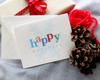 Happy Holidays Cards - Perfect for Rodan and Fields Consultants - Non Traditional - Color Block with Snowflake