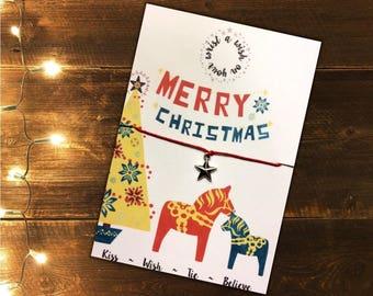 Dala Horse Wish Bracelet ~ Christmas Wish Bracelet ~ Scandi Wish Bracelet ~ Stocking Filler ~ Secret Santa Gift ~ Dala Horse Charm