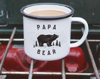 Papa Bear Mug - Dad Mug - Enamel Camping Mug for Fathers
