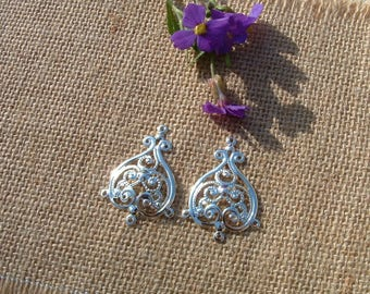 The pair of DANGLE EARRINGS in FIILIGRANNE 36x25mm silver metal