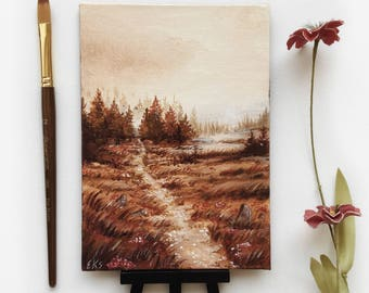 Mini Canvas Painting - Moorland - Acrylic on Canvas Board - Wall Art