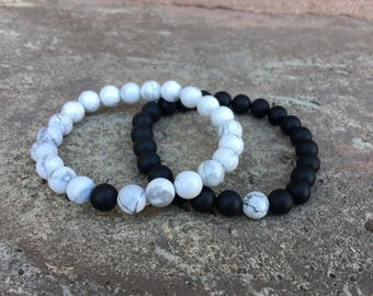 SINGLE Distance Bracelets - Send to 2 Addresses -  Black & White - Long Distance - For Friendships/relationships/couples FREE U.S SHIPPING!