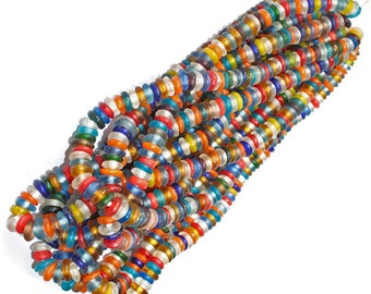 African Beads, Disc Spacers,  Recycled Glass 10 mm wide, Handmade in Ghana's Krobo, Long Strand