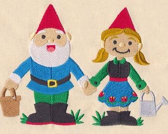 Garden Gnome Pair Embroidered Flour Sack Towel, Garden Gnome Towel, Gnome Couple Towel, Gnome Towel