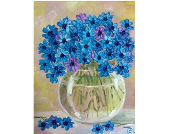 Blue Cornflowers in a Glass Bowl Original oil impasto painting No.04-57 ready to hang