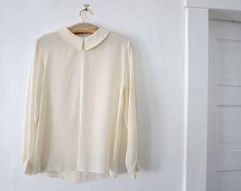 armani silk blouse with peter pan collar