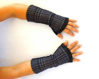 Fingerless gloves arm warmers black blue purple wool and Black Lace