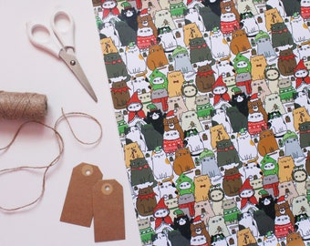 PREORDER Cats In Hats - Christmas Wrapping Paper / Christmas Cats / Cat Wrapping Paper / Meowy Catmas