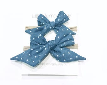 Sailor bow, baby bows, chambray, polka dots