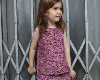 Batik kids, baby blouse in batik, purple batik fabric, kid unique gift, balinese batik, batik dress, girls purple cloth, Indonesian batik